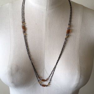 Jewelry - Crystal beaded 1920's style necklace amber bronze
